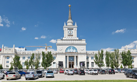 VOLGOGRAD - JUNE 8: The building of the Central railway station after reconstruction with adjacent Parking at station square. June 8, 2017 in Volgograd, Russia. Editorial