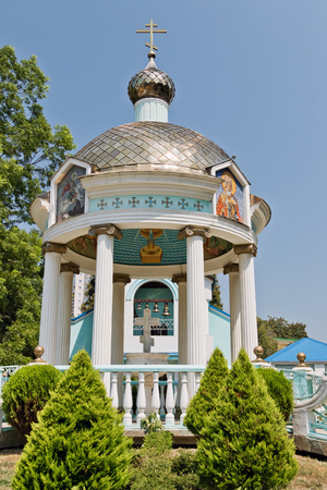 SOCHI, RUSSIA - AUGUST 13: View of the rotunda of Holy-water on the square at the Holy Trinity Church in Sochi. August 13, 2017  in Sochi, Russia.