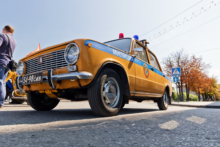 VOLGOGRAD - SEPTEMBER 9: Retro police car VAZ 2106 Soviet times painted in yellow-blue color. September 9 2017 in Volgograd Russia.