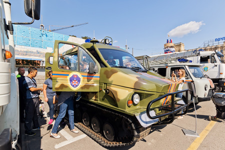 squad: VOLGOGRAD - SEPTEMBER 9: All terrain vehicle on tracks at the exhibition of special equipment of the rescue services of Russia. September 9, 2017 in Volgograd, Russia. Editorial