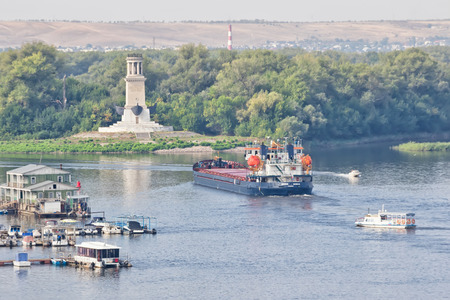 VOLGOGRAD - SEPTEMBER 16: Barge for transportation of various petroleum products turning to the Volga shipping channel. September 16, 2017 in Volgograd, Russia. Editorial