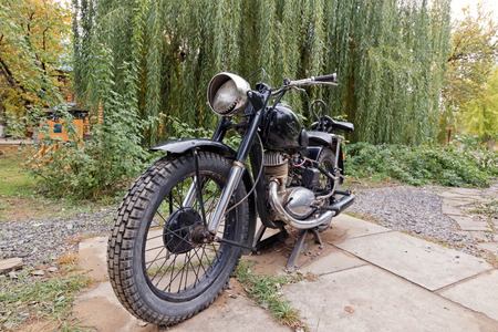 VOLGOGRAD - OCTOBER 15: Exhibition of old vintage motorcycles made in the USSR under the open sky. October 15, 2017 in Volgograd, Russia