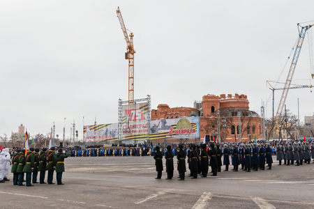 VOLGOGRAD, RUSSIA - FEBRUARY 2: Parade on main city square in honor of the 75 anniversary of the victory of Soviet troops at Stalingrad. Volgograd, 2018