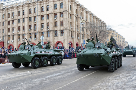 VOLGOGRAD, RUSSIA - FEBRUARY 2: Parade of military equipment on city's main square in honor of 75 anniversary of  victory of Soviet troops at Stalingrad. Volgograd, 2018 Редакционное