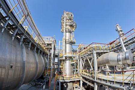 View of the equipment for purification of oil and oil products from impurities at the refinery. Shot on a fisheye Stock Photo