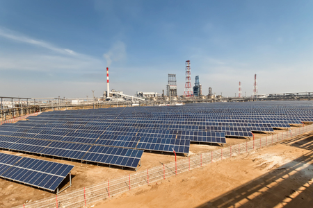 Solar panels installed on the territory of the petrochemical complex to meet the plant's own electricity needs 스톡 콘텐츠