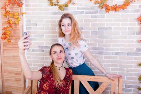 Two charming young girls take a selfie on the phone in a room furnished in autumn style