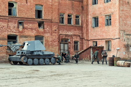 VOLGOGRAD, RUSSIA - APRIL 29: Reconstruction of battles second world war between red army and the Nazis arranged in Museum of Old Sarepta. April 29, 2018  in Volgograd, Russia. Editorial