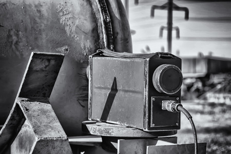 X-ray inspection of welded joints of pipeline assemblies and parts in the field at the welding site. Black and white photo Imagens