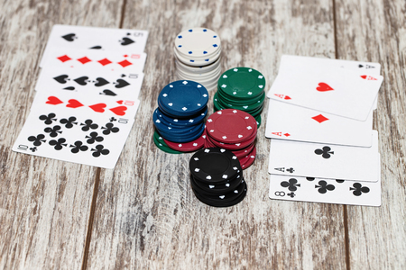 Big bets chips in a poker game - while handing both players a strong combination