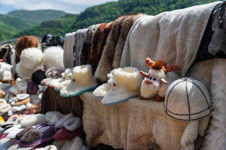 Wool and fur Souvenirs : Slippers, toys and hats 写真素材