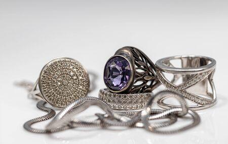 variety of silver jewelry : rings, earrings and pendant 版權商用圖片