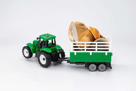 Toy green tractor carries various seashells in a trailer