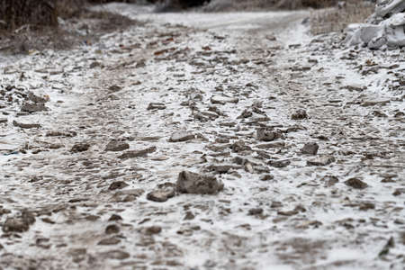 View of a dirt road after the onset of ice Stok Fotoğraf