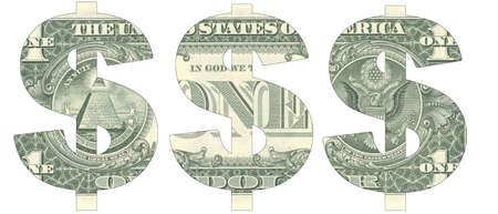 Stencil of the USD symbol on a new-style hundred-dollar bill