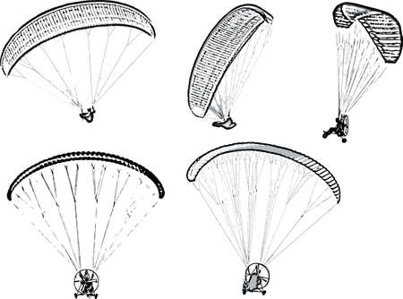 Set of black and white vector image of parachutists soaring on paragliders Vetores