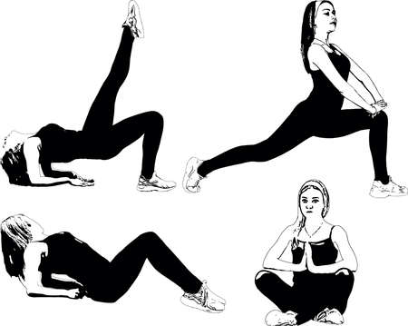 Athletic, slender girl does exercises to stretch the muscles. Set of vector black and white images
