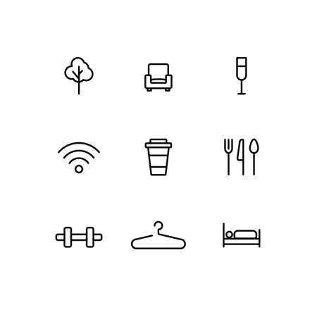 Public building universal symbols. Mall or hotel icon set. Information vector sign set. Way finding system signboard minimalist icon. Illustration lines editable.