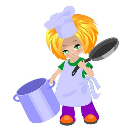little chef: little  cook with a pan and frying pan