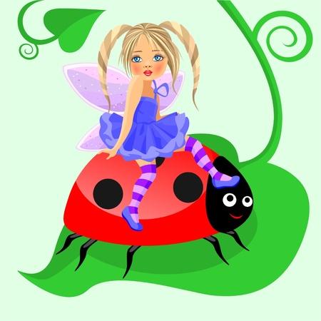 a little fairy with a ladybird