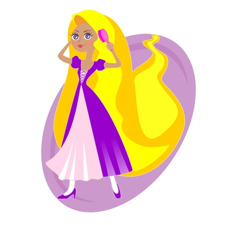 rapunzel girl with long hair Illustration