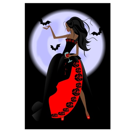 vampire girl with a glass Stock Vector - 9909907