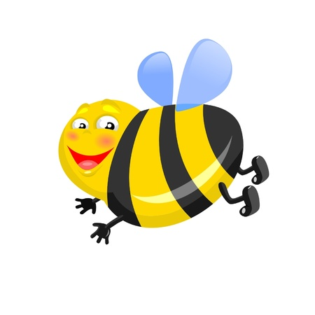 A happy  thick bee is isolated on a white background Иллюстрация