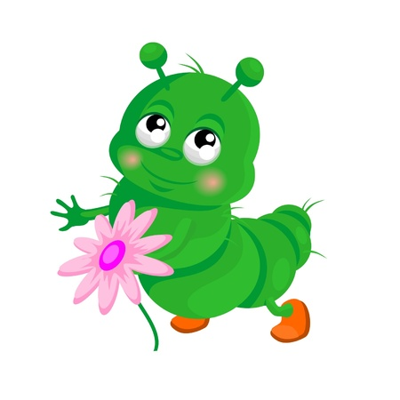 Happy  caterpillar with a flower Illustration