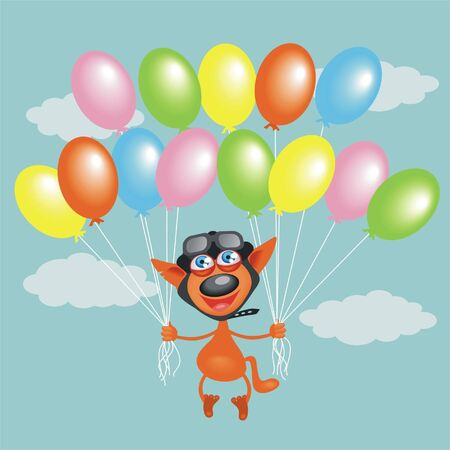 cat in a helmet with balloons Illustration