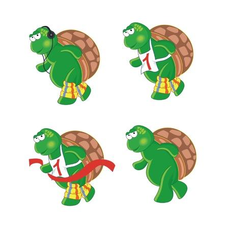four  cartoon turtles  isolated on white background Illustration