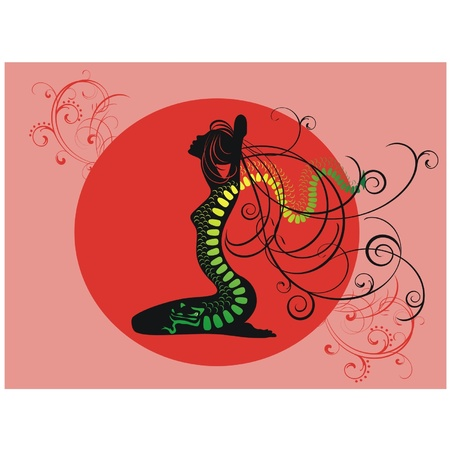 tattoo girl: Silhouette of girl from a tattoo dragon
