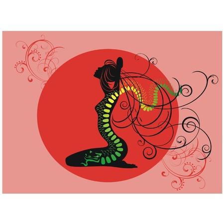 tattoo girl: Silueta de ni�a de un dragon tattoo