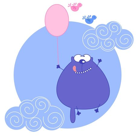 a cat flies on balloon.illustration