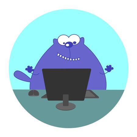 working animals: a cat working at a computer Illustration