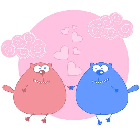 two in love cats. illustration
