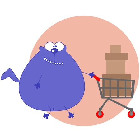 shopping centre: Cartoon cat with shopping cart Illustration