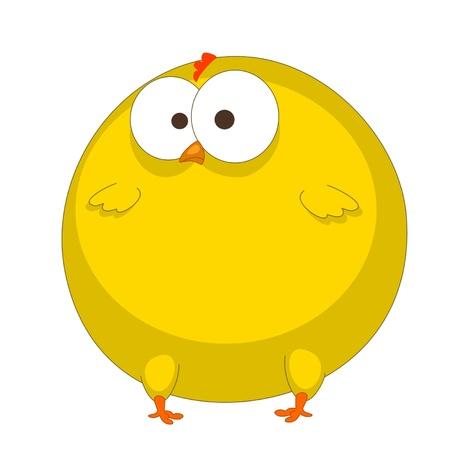 een grappige kip is geïsoleerd op een witte achtergrond