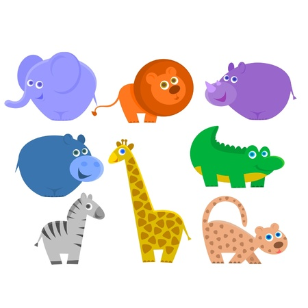 the african animals are isolated on a white background Vector