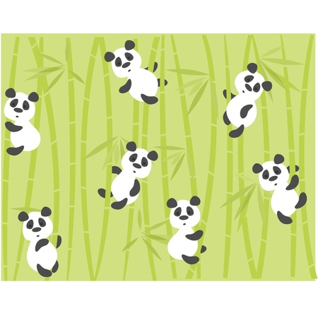 panda bears on a background a bamboo Stock Vector - 11094122