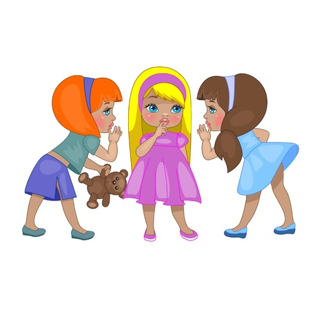 ridicule: three little children gossiping