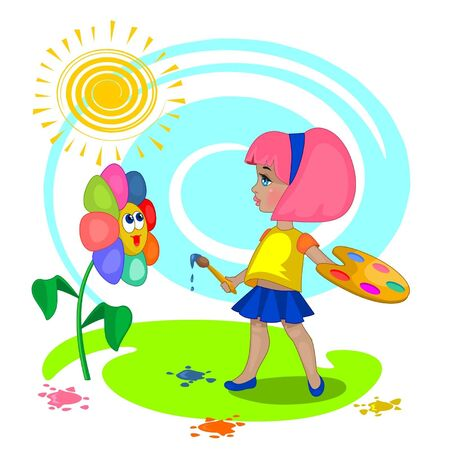 cartoon painter: little girl with a palette near the coloured flower Illustration