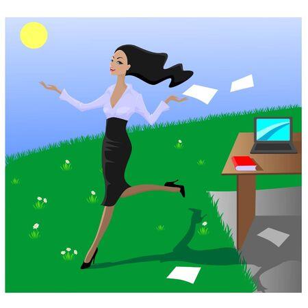 Una chica alegre salió de una oficina en un prado Foto de archivo - 11487539