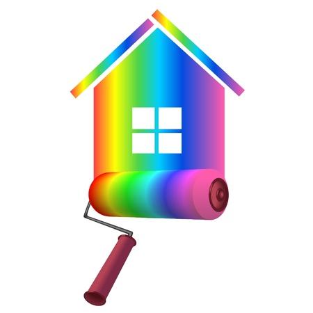 pintor: rodillo en el color de fondo en el hogar