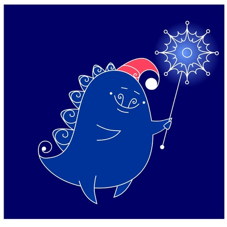 Funny dragon with snowflake Vector