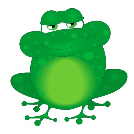 A funny frog is isolated on a white background Vector