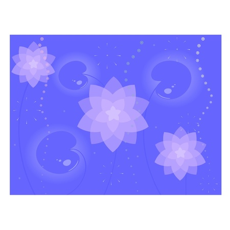 Background from water-lilys and leaves Vector