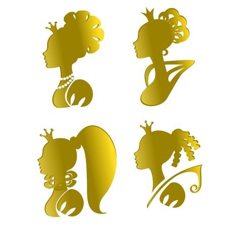 crown silhouette: Quattro sagome d'oro di principesse Vettoriali