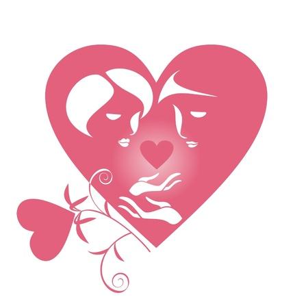 siluetas de enamorados: Las siluetas de dos amantes en el corazón