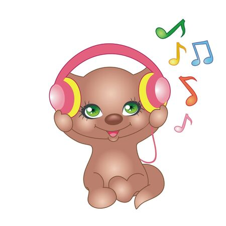 Cartoon happy kitten with headphones Illustration