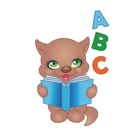 Cartoon happy kitten with book Stock Vector - 12419182